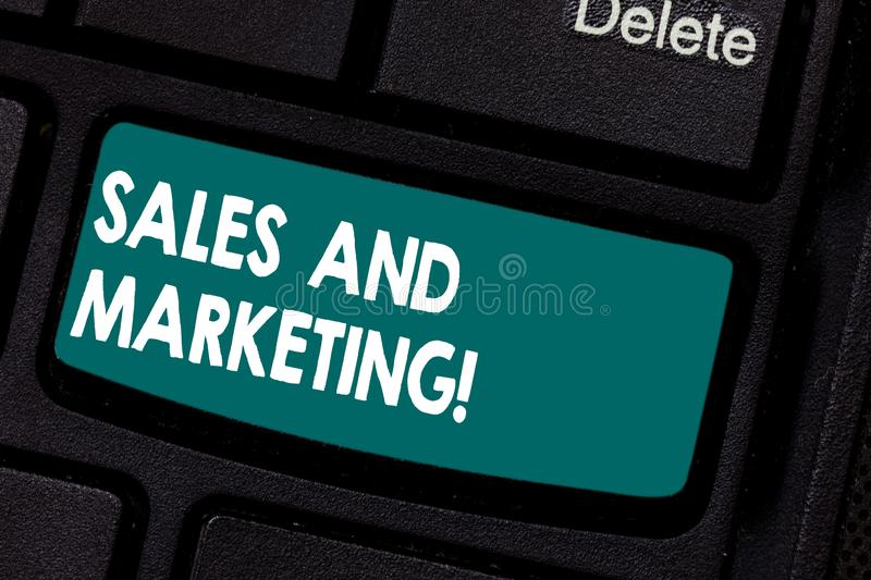 Conceptual hand writing showing Sales And Marketing. Business photo showcasing activities for selling and advertising stock photography