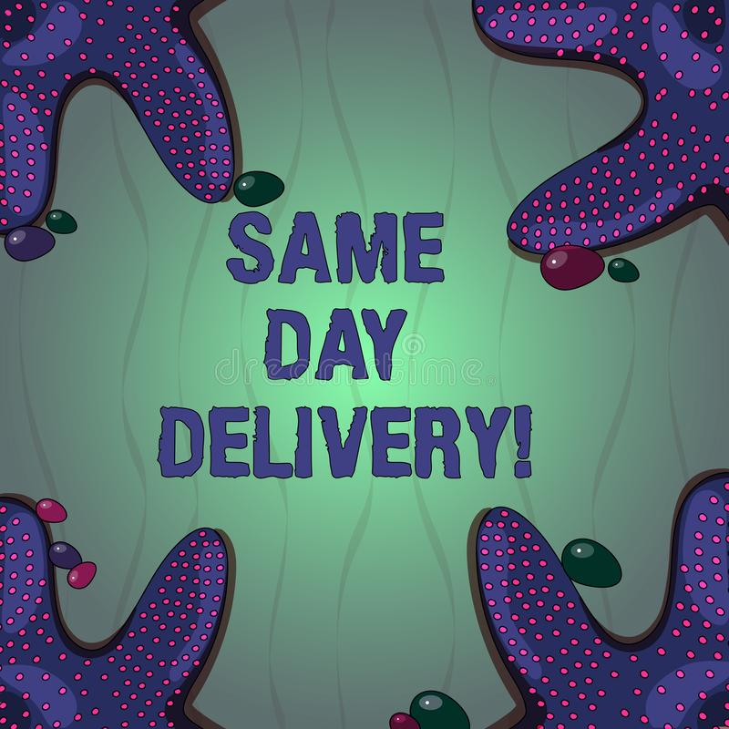 Conceptual hand writing showing Same Day Delivery. Business photo text order will leave our warehouse Same date you vector illustration