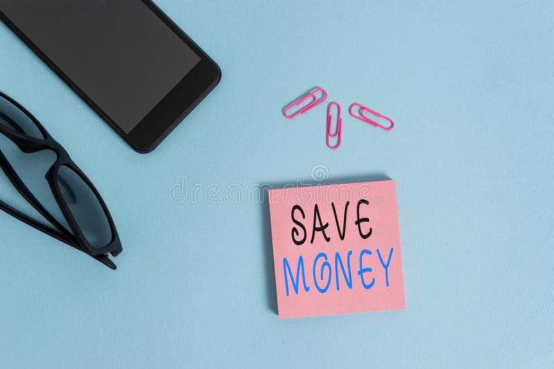 Conceptual hand writing showing Save Money. Business photo showcasing store some of your cash every month to use them. Conceptual hand writing showing Save Money stock images