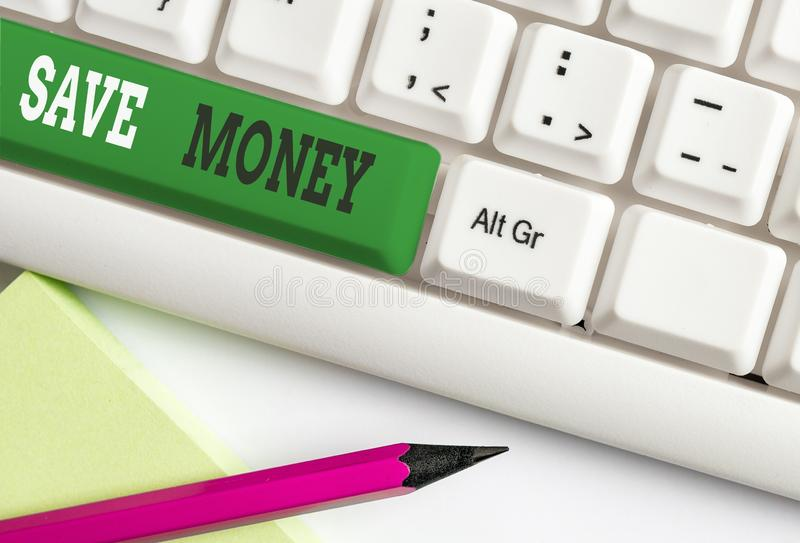 Conceptual hand writing showing Save Money. Business photo text store some of your cash every month to use them sometime. Conceptual hand writing showing Save royalty free stock photo