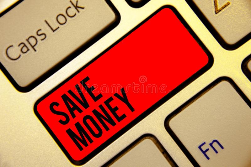 Conceptual hand writing showing Save Money. Business photo text store some of your cash every month to use them sometime later Key. Board red key create computer royalty free stock photo