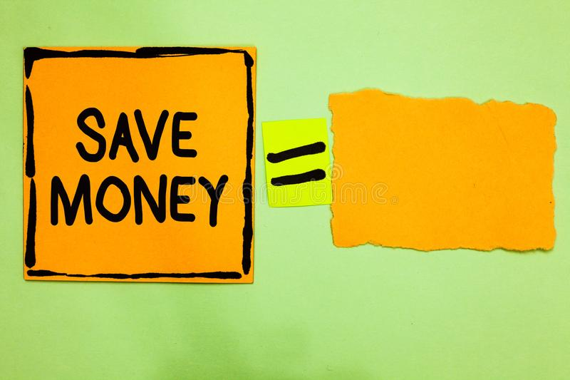Conceptual hand writing showing Save Money. Business photo text store some of your cash every month to use them sometime later Ora. Nge paper notes reminders royalty free stock photos