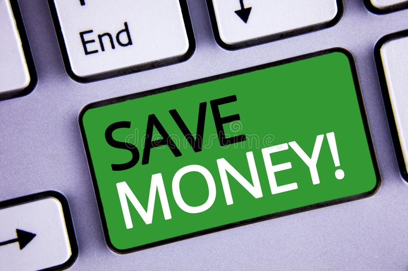 Conceptual hand writing showing Save Money Motivational Call. Business photos text Reduce expenses Make a fund from earnings. Conceptual hand writing showing royalty free stock photography