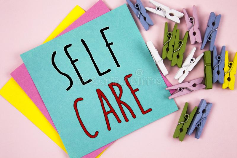 Conceptual hand writing showing Self Care. Business photo showcasing Protection you give to yourself Individual control checking royalty free stock image