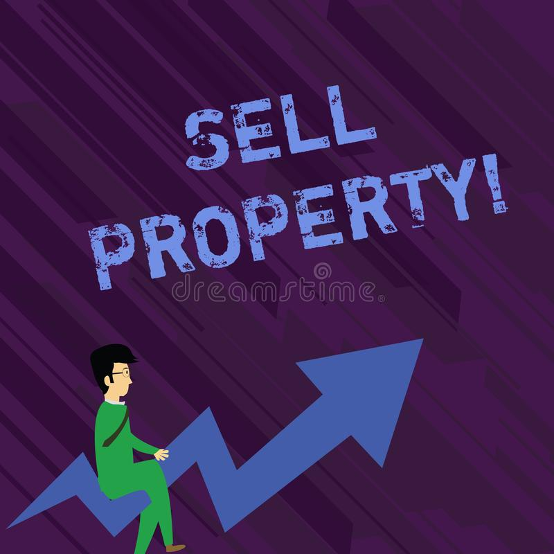 Conceptual hand writing showing Sell Property. Business photo text Accepting an offer of money in return for the vector illustration