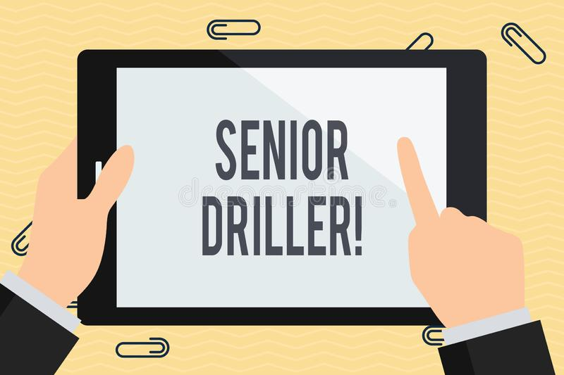 Conceptual hand writing showing Senior Driller. Business photo text supervise and formally assess onsite work activities. Conceptual hand writing showing Senior vector illustration