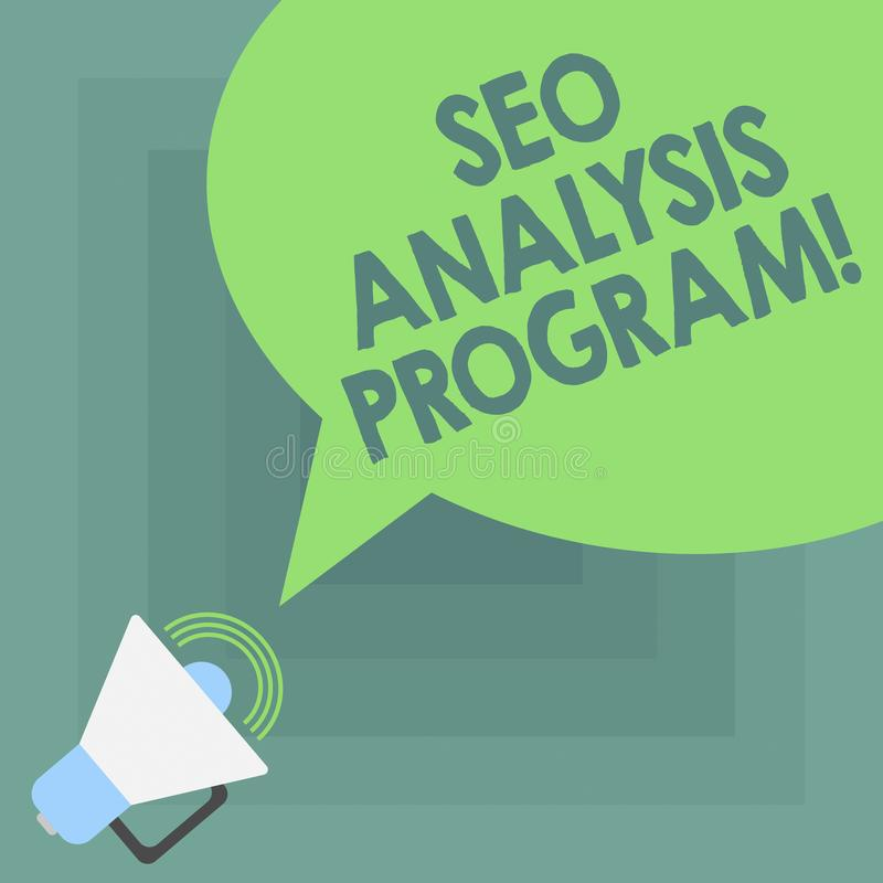 Conceptual hand writing showing Seo Analysis Program. Business photo showcasing A tool to use to improve a visibility of. A website Megaphone with Sound Volume stock illustration