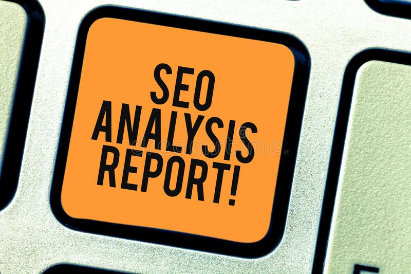 Conceptual hand writing showing Seo Analysis Report. Business photo showcasing making changes website make more visible. Search engines Keyboard key Intention vector illustration