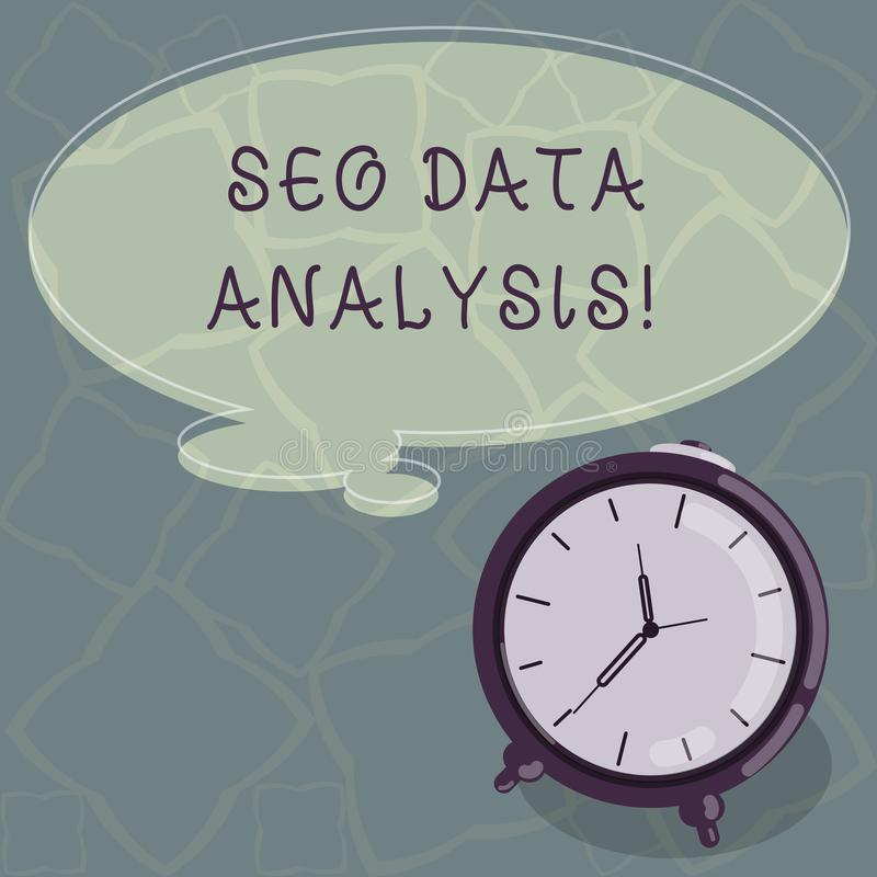 Conceptual hand writing showing Seo Data Analysis. Business photo text changes to website make it more visible search. Engines Color Thought Speech Bubble with vector illustration