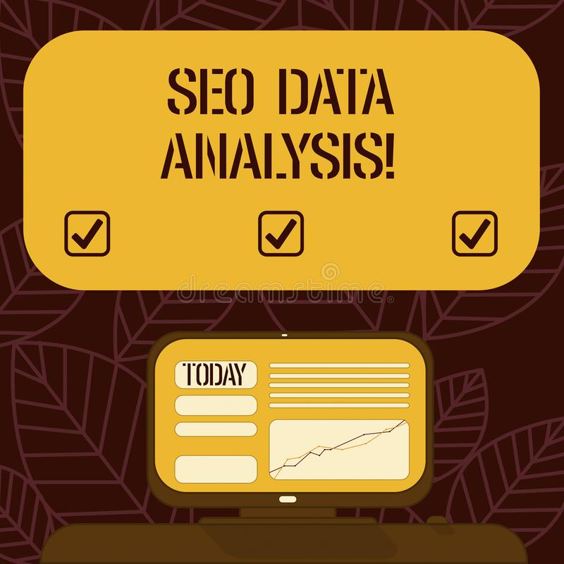 Conceptual hand writing showing Seo Data Analysis. Business photo text changes to website make it more visible search. Engines Mounted Computer Screen with Line royalty free illustration