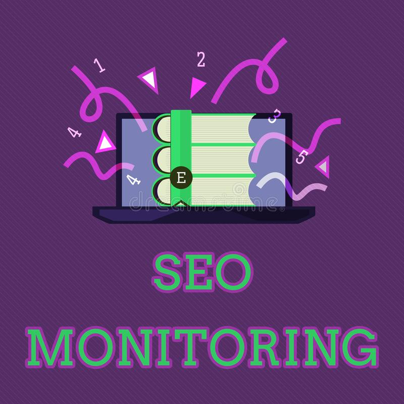 Conceptual hand writing showing Seo Monitoring. Business photo text Tracking the progress of strategy made in the platform.  royalty free illustration