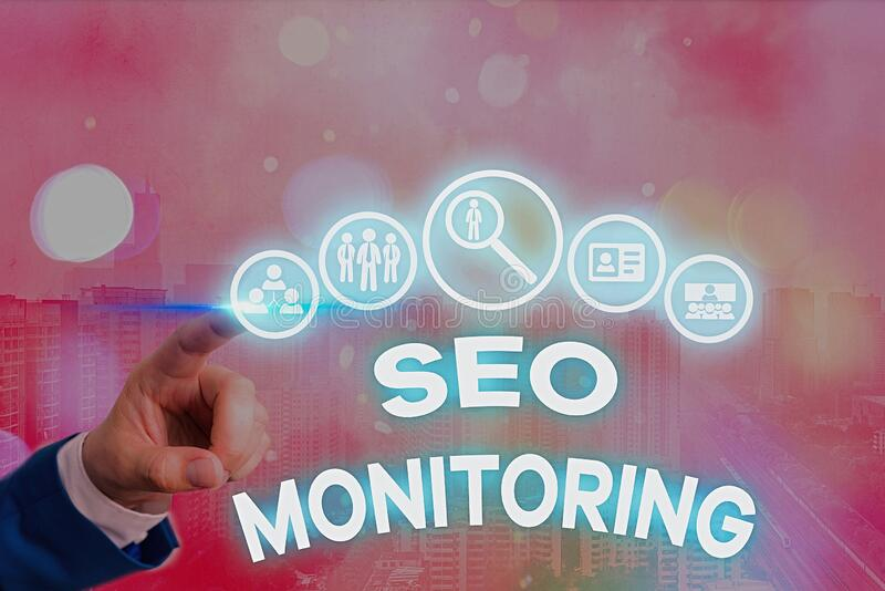 Conceptual hand writing showing Seo Monitoring. Business photo text Tracking the progress of strategy made in the platform. Conceptual hand writing showing Seo stock image