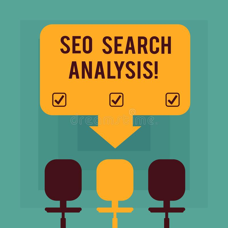 Conceptual hand writing showing Seo Search Analysis. Business photo text making changes website make more visible search. Engines Space Color Arrow Pointing to vector illustration
