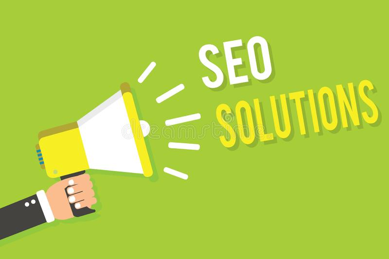 Conceptual hand writing showing Seo Solutions. Business photo text Search Engine Result Page Increase Visitors by Rankings Man hol. Ding megaphone loudspeaker stock illustration
