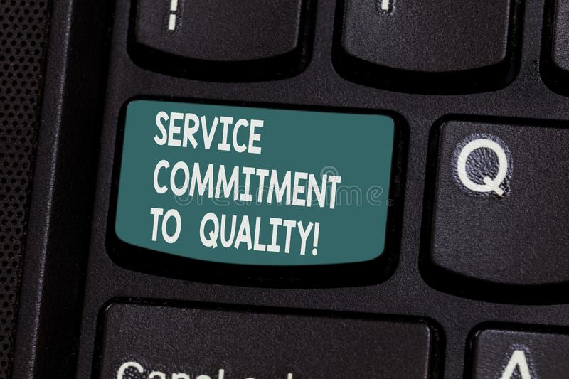 Conceptual hand writing showing Service Commitment To Quality. Business photo text Excellent high quality good. Assistance Keyboard key Intention to create stock photos
