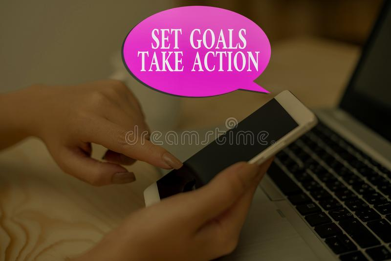 Conceptual hand writing showing Set Goals Take Action. Business photo showcasing Act on a specific and clearly laid out. Conceptual hand writing showing Set royalty free stock photography