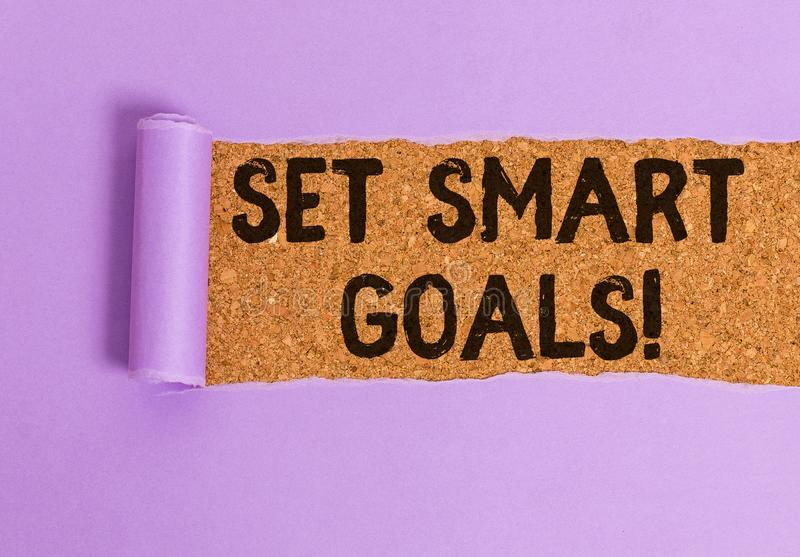 Conceptual hand writing showing Set Smart Goals. Business photo showcasing list to clarify your ideas focus efforts use. Conceptual hand writing showing Set stock images