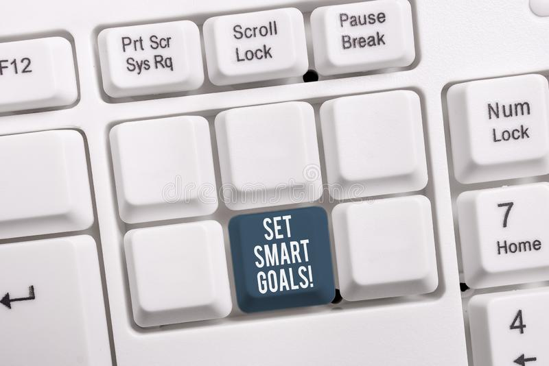 Conceptual hand writing showing Set Smart Goals. Business photo showcasing list to clarify your ideas focus efforts use. Conceptual hand writing showing Set stock image