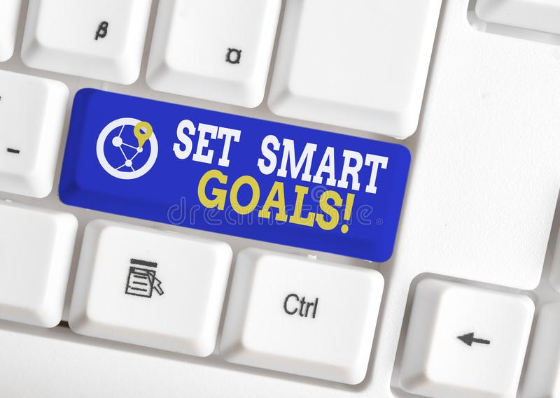 Conceptual hand writing showing Set Smart Goals. Business photo showcasing list to clarify your ideas focus efforts use. Conceptual hand writing showing Set royalty free stock photo