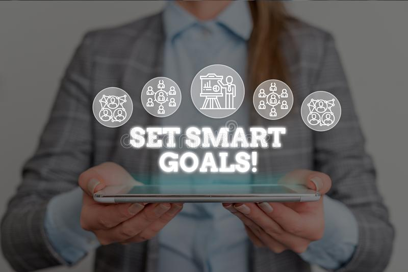 Conceptual hand writing showing Set Smart Goals. Business photo text list to clarify your ideas focus efforts use time. Conceptual hand writing showing Set Smart royalty free stock photography
