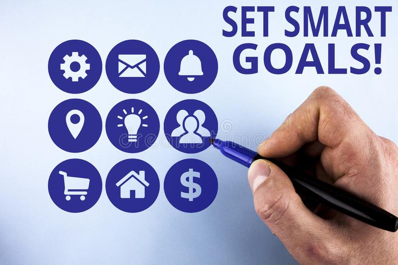 Conceptual hand writing showing Set Smart Goals. Business photo text list to clarify your ideas focus efforts use time. Conceptual hand writing showing Set Smart royalty free stock images