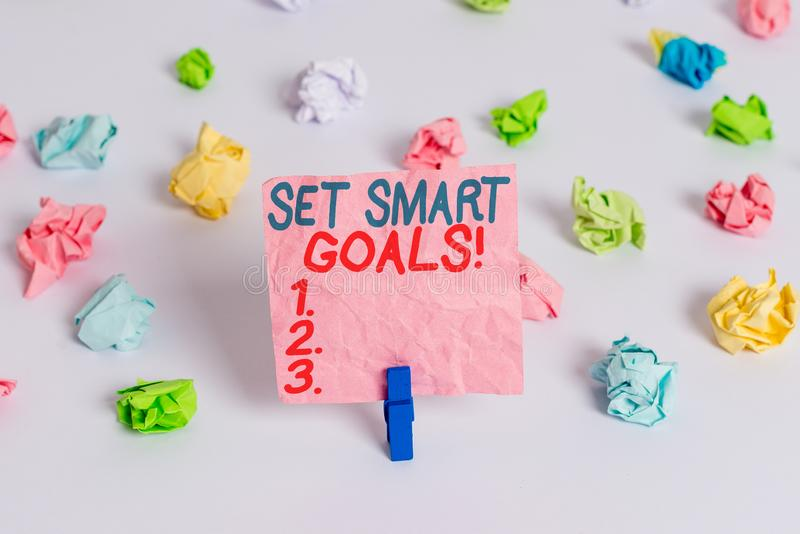 Conceptual hand writing showing Set Smart Goals. Business photo text list to clarify your ideas focus efforts use time. Conceptual hand writing showing Set Smart stock image