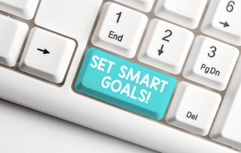 Conceptual hand writing showing Set Smart Goals. Business photo text list to clarify your ideas focus efforts use time. Conceptual hand writing showing Set Smart royalty free stock photos