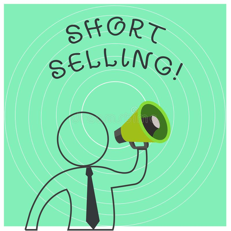 Conceptual hand writing showing Short Selling. Business photo text Act of selling an asset that you do not currently own. Conceptual hand writing showing Short vector illustration