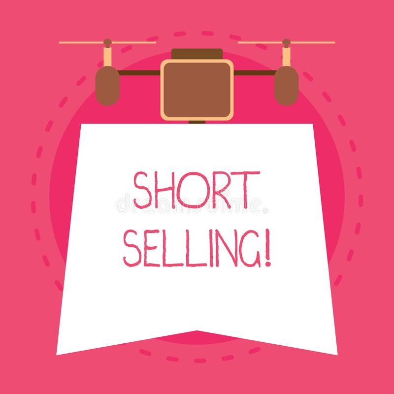 Conceptual hand writing showing Short Selling. Business photo text Act of selling an asset that you do not currently own. Conceptual hand writing showing Short stock illustration