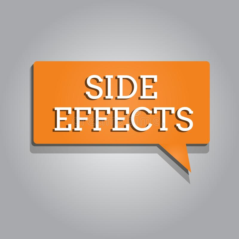 Conceptual hand writing showing Side Effects. Business photo text An unintended negative reaction to a medicine and. Treatment vector illustration