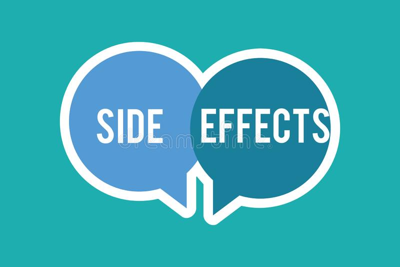 Conceptual hand writing showing Side Effects. Business photo text An unintended negative reaction to a medicine and. Treatment stock illustration