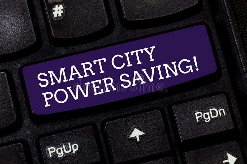 Conceptual hand writing showing Smart City Power Saving. Business photo text Connected technological cities electricity. Savings Keyboard key Intention to stock images