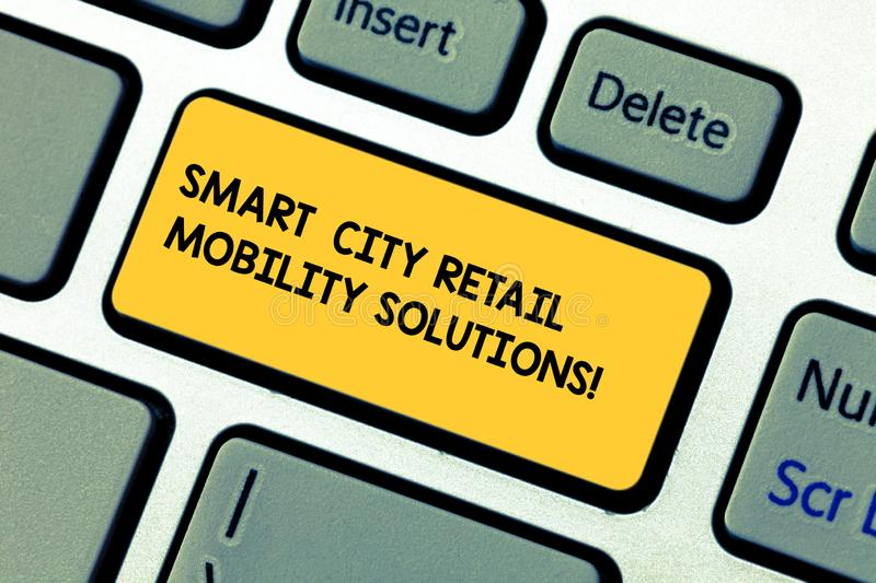 Conceptual hand writing showing Smart City Retail Mobility Solutions. Business photo showcasing Connected technological modern. Cities Keyboard key Intention to vector illustration