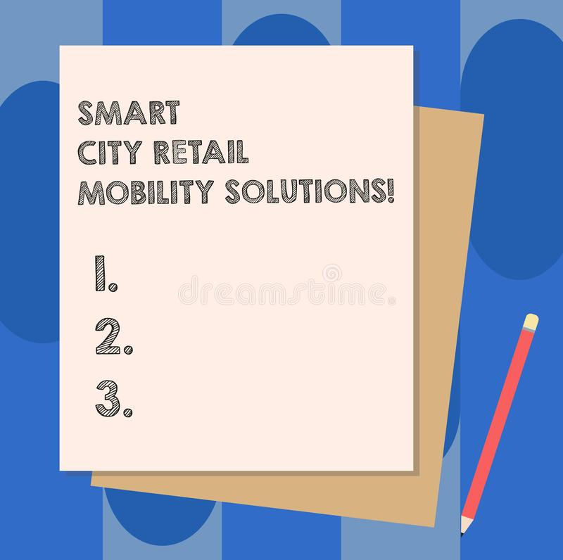 Conceptual hand writing showing Smart City Retail Mobility Solutions. Business photo showcasing Connected technological. Modern cities Stack of Different Pastel vector illustration