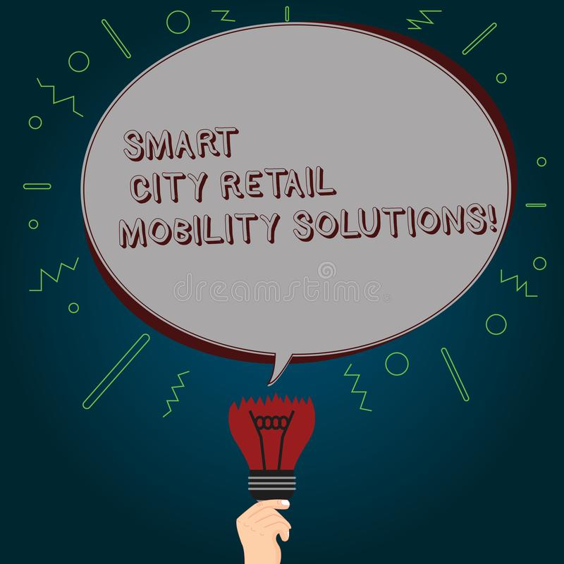Conceptual hand writing showing Smart City Retail Mobility Solutions. Business photo text Connected technological modern cities. Oval Speech Bubble Above a royalty free illustration