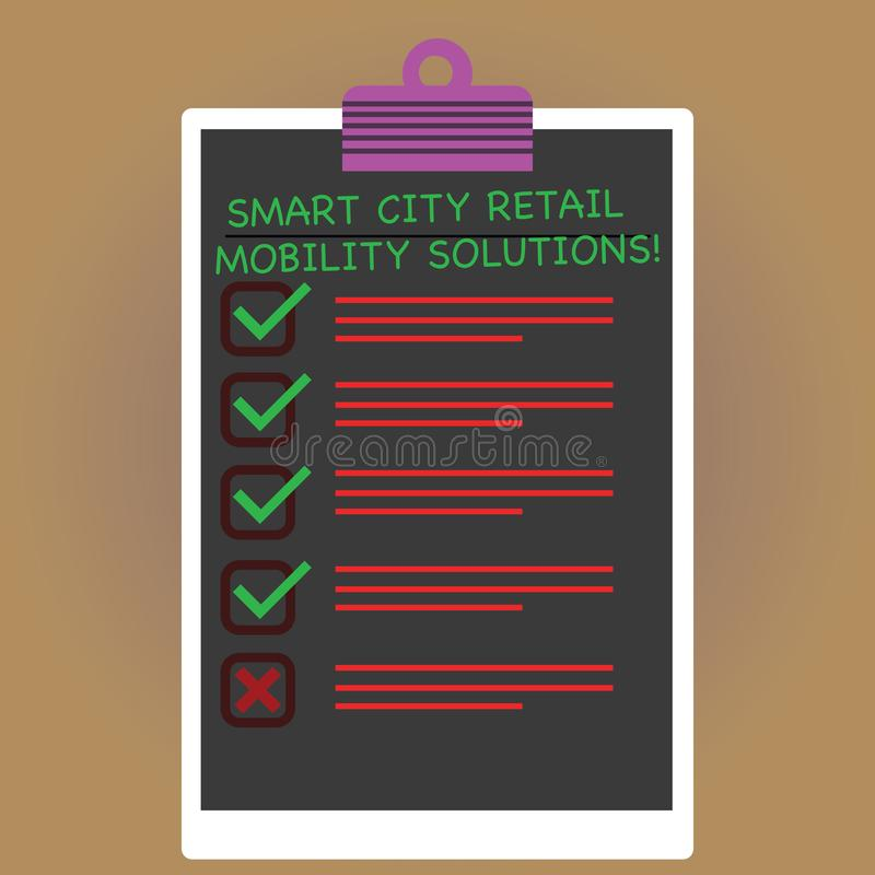 Conceptual hand writing showing Smart City Retail Mobility Solutions. Business photo text Connected technological modern cities. Vertical Clipboard with Check royalty free illustration