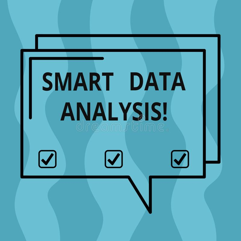 Conceptual hand writing showing Smart Data Analysis. Business photo showcasing collecting and analyzing infos to make. Better decisions Rectangular Outline royalty free illustration