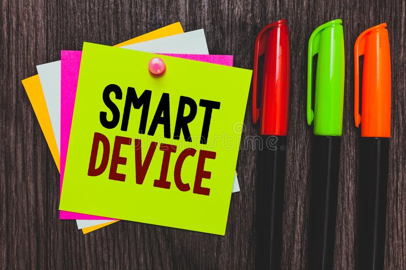 Conceptual hand writing showing Smart Device. Business photo showcasing Electronic gadget that able to connect share interact with royalty free stock images