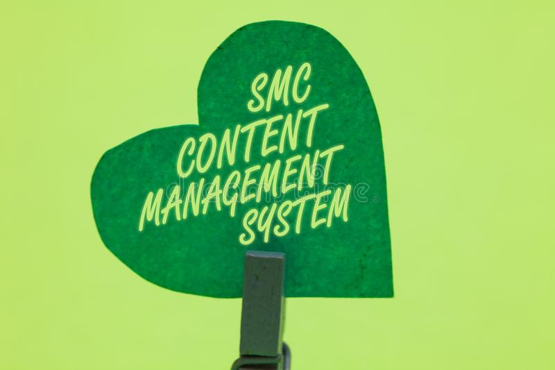 Conceptual hand writing showing Smc Content Management System. Business photo showcasing mangae creation and modification of posts. Clothespin holding green stock image