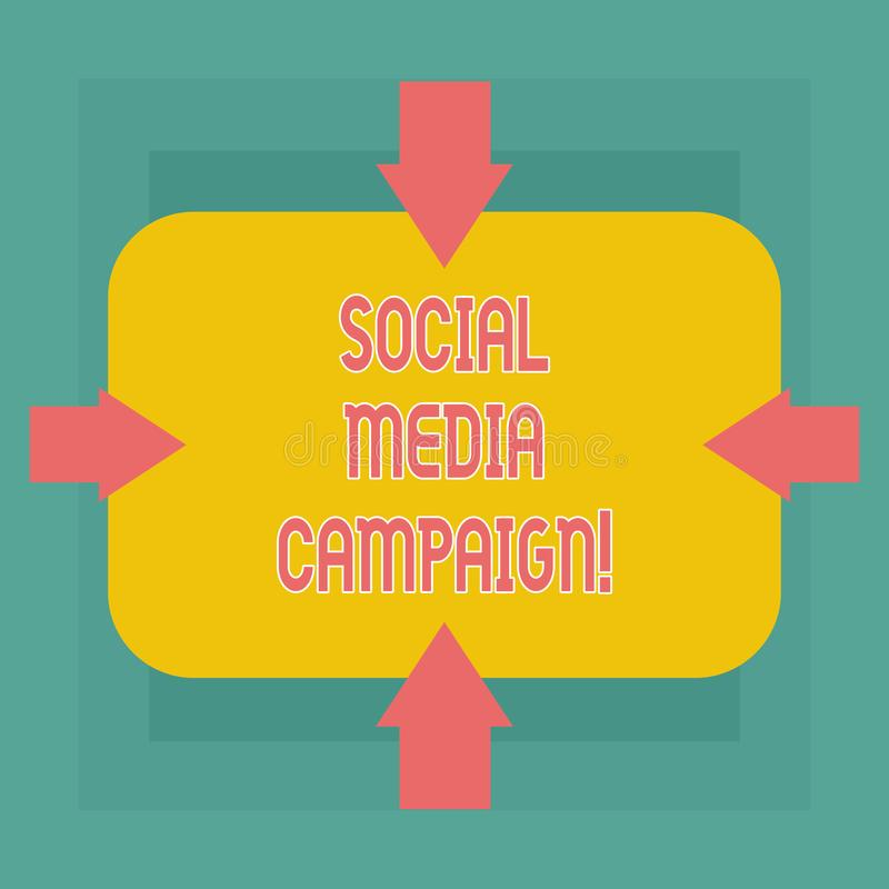Conceptual hand writing showing Social Media Campaign. Business photo text Use of social networks to promote brands or. Services Arrows on Four Sides of stock illustration
