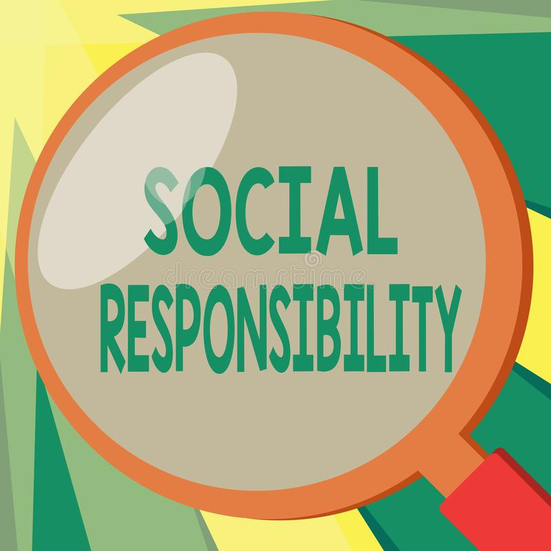 Conceptual hand writing showing Social Responsibility. Business photo showcasing Obligation for the Benefit of Society. Balance in life vector illustration
