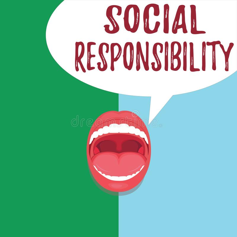 Conceptual hand writing showing Social Responsibility. Business photo text Obligation for the Benefit of Society Balance. In life vector illustration