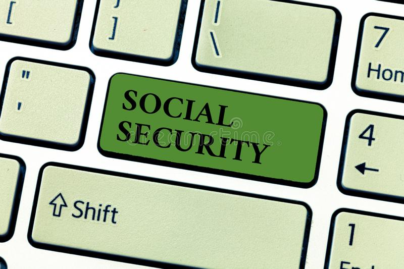 Conceptual hand writing showing Social Security. Business photo text assistance from state people with inadequate or no income royalty free stock photography