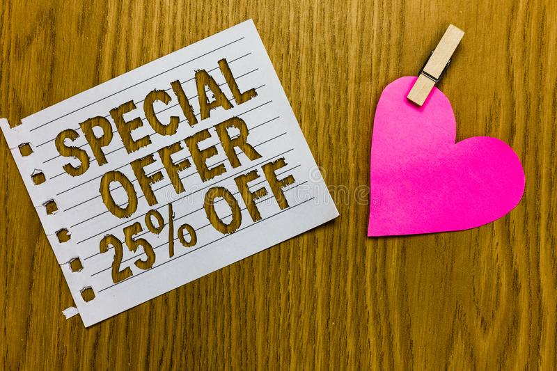 Conceptual hand writing showing Special Offer 25 Off. Business photo showcasing Discounts promotion Sales Retail Marketing Offer Y. Ellow woody deck word with royalty free stock photos