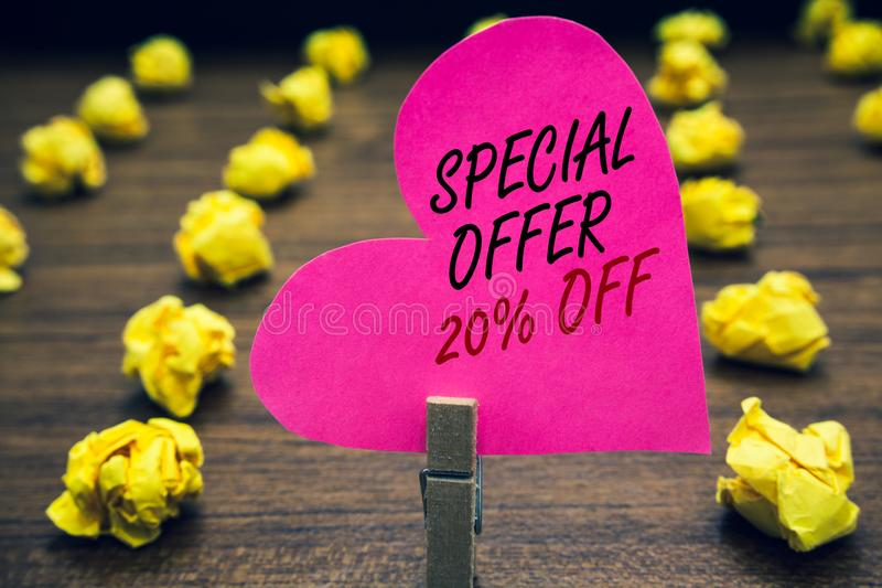 Conceptual hand writing showing Special Offer 20 Off. Business photo text Discounts promotion Sales Retail Marketing Offer Papercl stock image