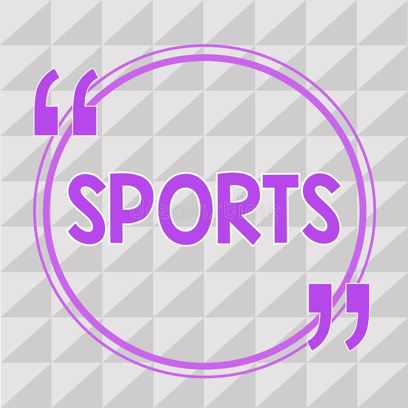 Conceptual hand writing showing Sports. Business photo showcasing activity physical exertion and skill individual or team competes.  vector illustration