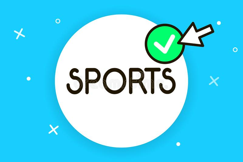 Conceptual hand writing showing Sports. Business photo text activity physical exertion and skill individual or team. Competes vector illustration