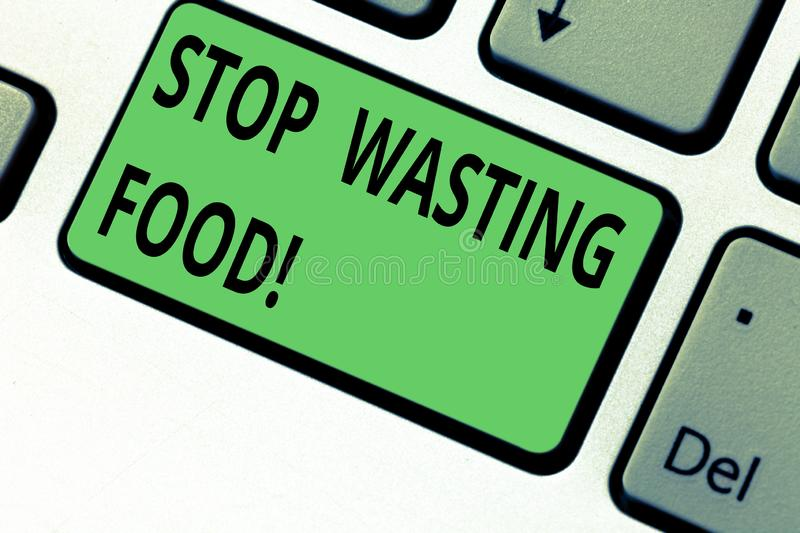 Conceptual hand writing showing Stop Wasting Food. Business photo text organization works for reduction food waste in. Society Keyboard key Intention to create royalty free stock photo