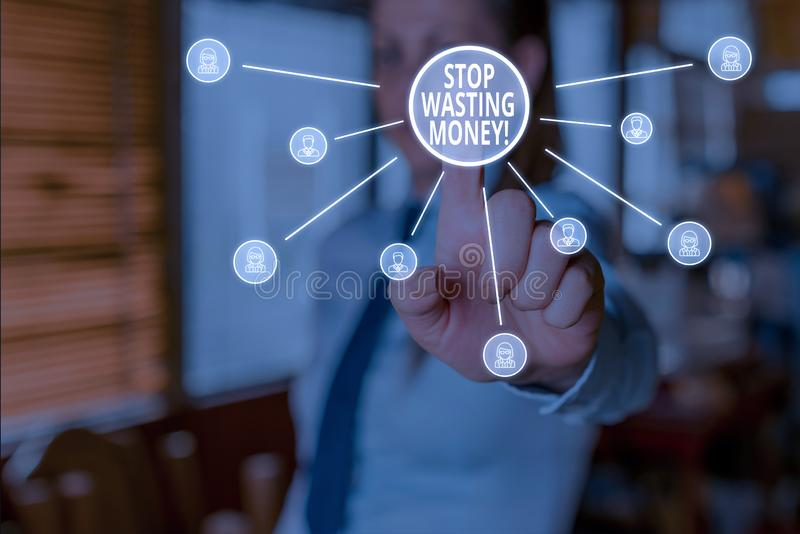 Conceptual hand writing showing Stop Wasting Money. Business photo showcasing advicing demonstrating or group to start. Conceptual hand writing showing Stop stock images