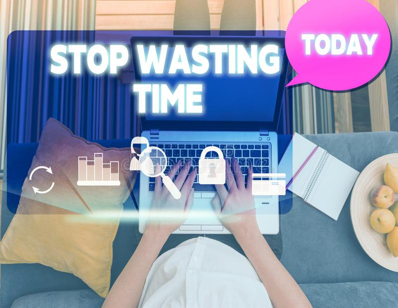 Conceptual hand writing showing Stop Wasting Time. Business photo text advising demonstrating or group start planning. Conceptual hand writing showing Stop stock photography